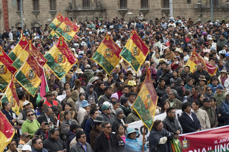 Thousands protest in La Paz's San Francisco square on Nov. 29 over widespread water shortages in the Bolivian city.